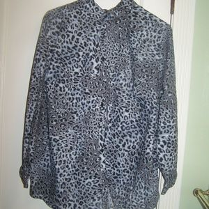 Roaman's Animal Leopard Print Blouse Shirt Plus 24
